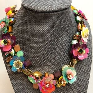 J. CREW floral chunky sequins beads gems necklace